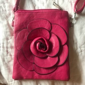 Handbags - pink rose crossbody bag